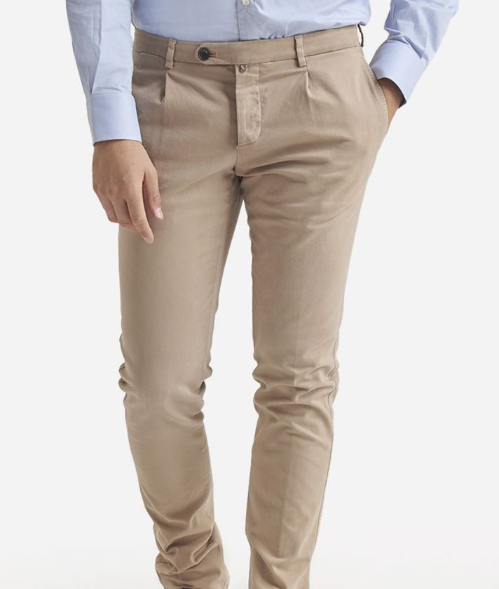1- pince slim cotton trousers Beige