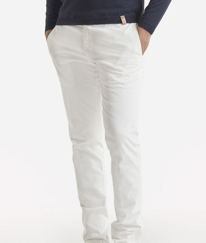 Super slim cotton trousers White