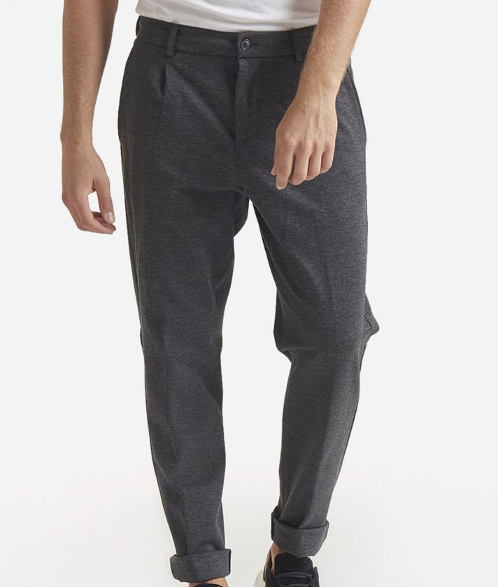 Pantalone Baggy in misto viscosa Grigio Scuro
