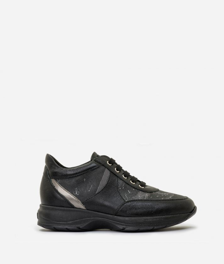 Geo Crossing sneakers in leather and Geo Black Black