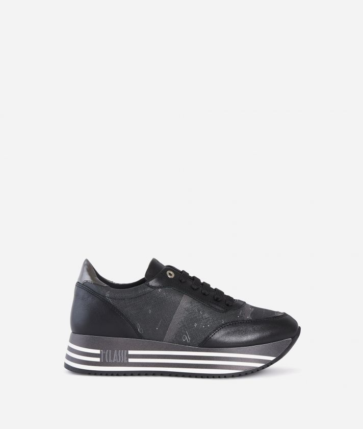 Geo Nero print High Sneakers Black