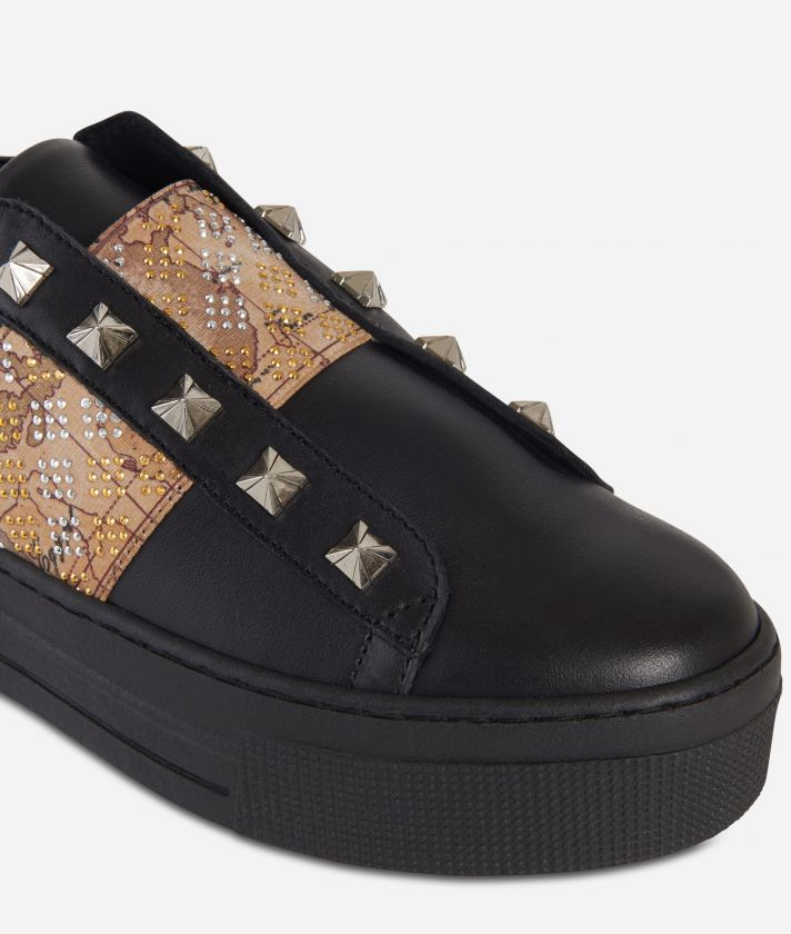 Leather slip-on with studs Black