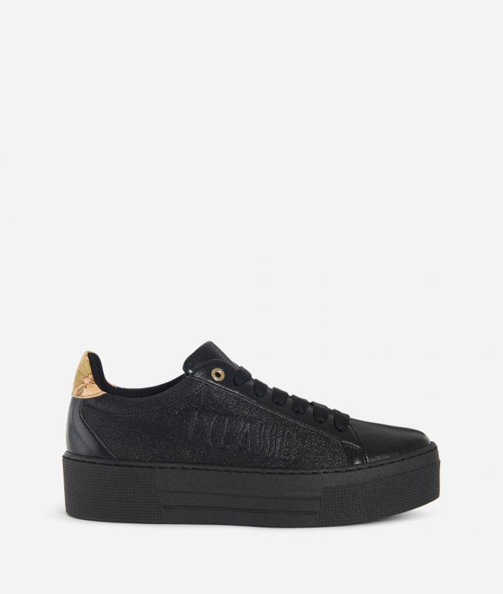 Sneakers glitter con logo embossed Nero