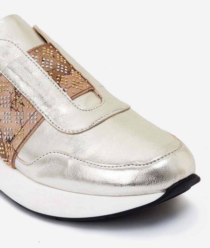 Pearly eco-leather running sneakers Platinum