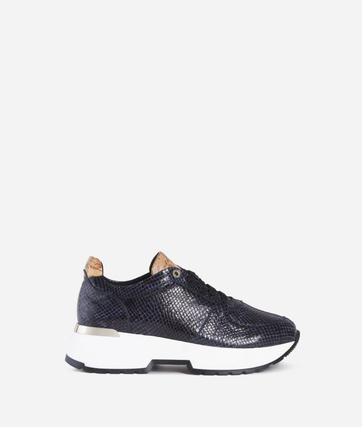 Sneakers in pelle stampa pitone Blu