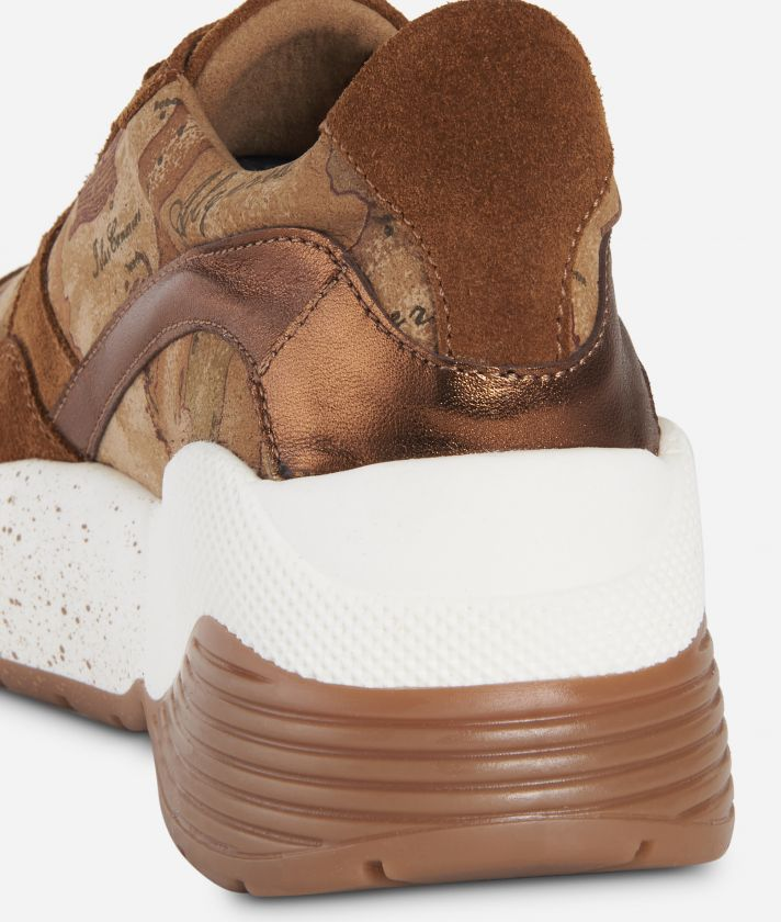 Sneakers High in pelle scamosciata Cuoio