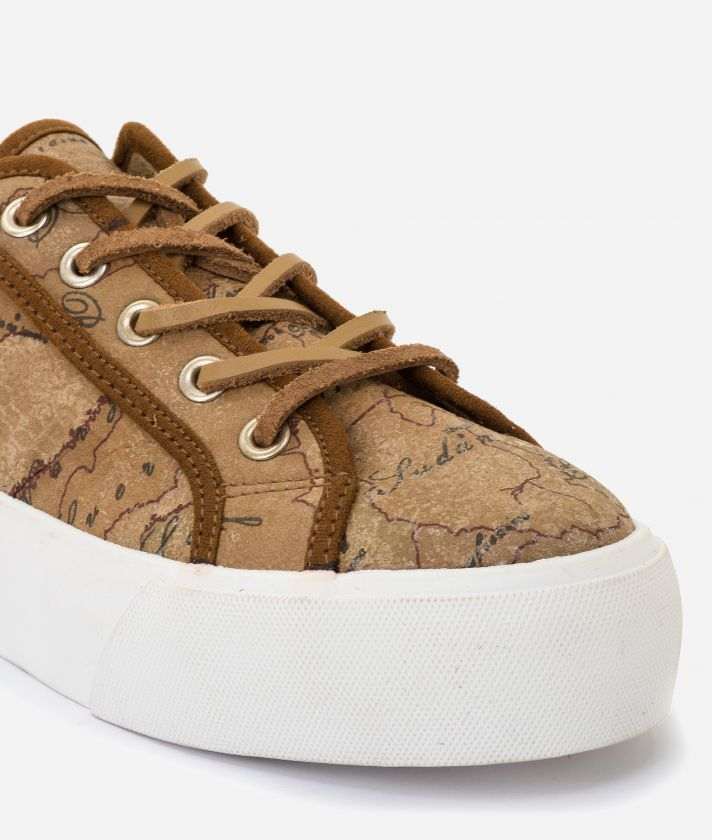 Geo Classic print nabuk sneakers Natural Tan