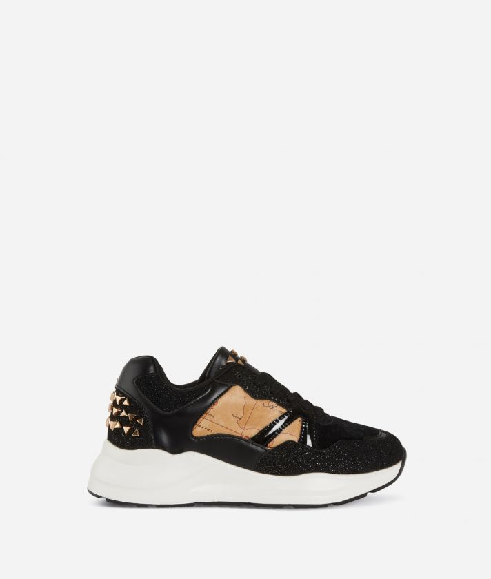 Nappa leather running sneakers Black