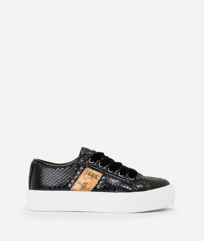 Sneakers in eco pitone e borchie Nero