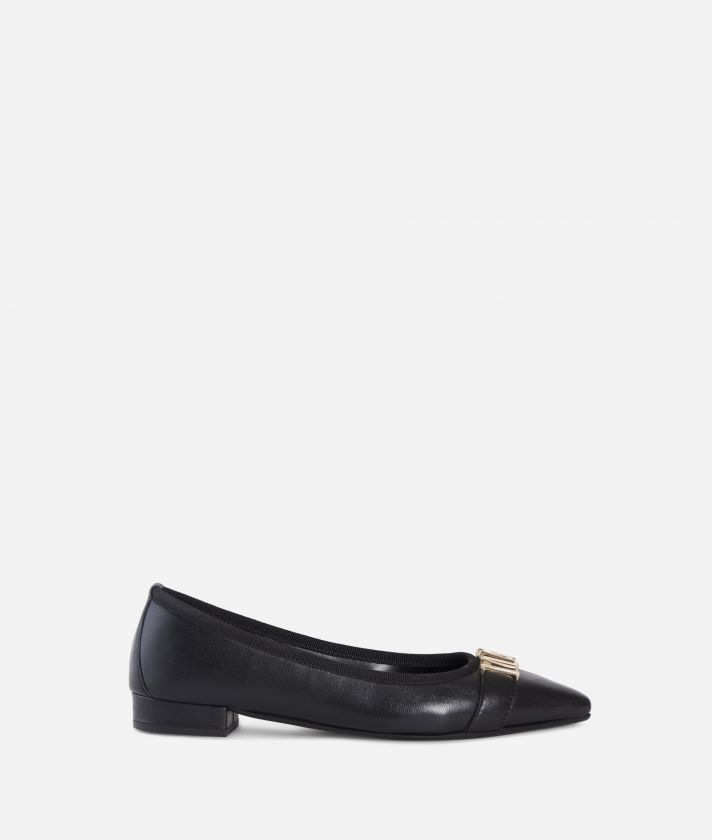 Leather ballet flat with maxi logo Black