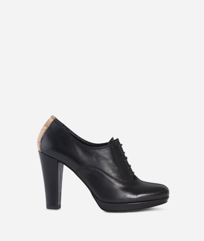 Leather heeled derby Black