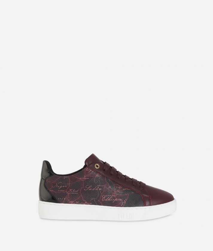 Sneakers Geo Rosewood in tessuto saffiano Cabernet