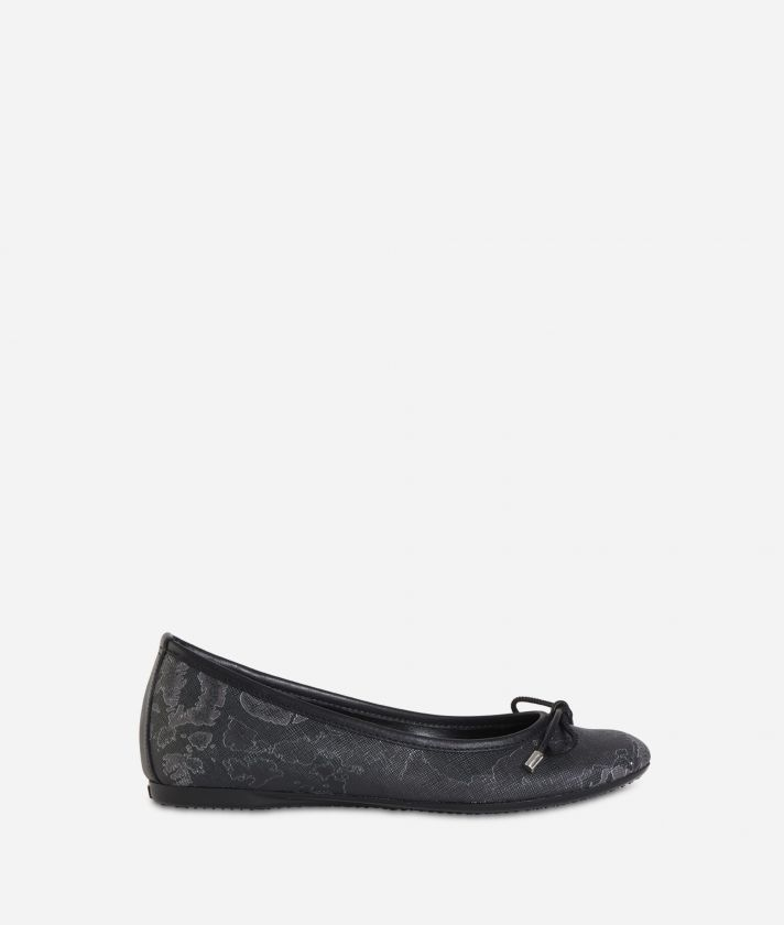 Ballet flats in Geo Black fabric Black