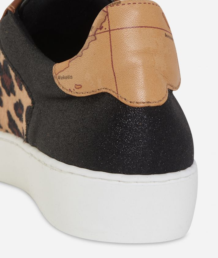 Leather and animalier print sneakers Black