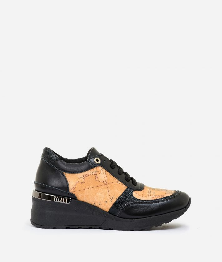 Leather and Geo Classic wedge sneakers Black