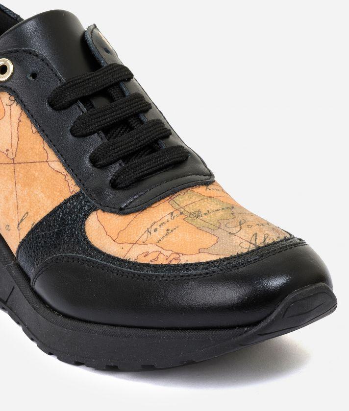 Sneakers con zeppa in pelle e tessuto Geo Classic Nero