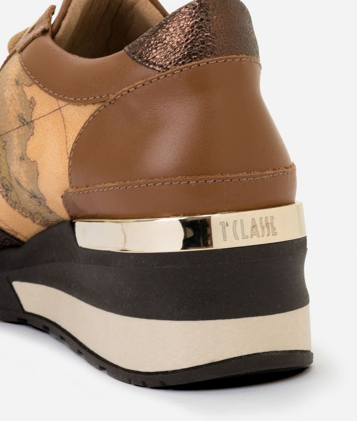 Sneakers con zeppa in pelle e tessuto Geo Classic Cuoio