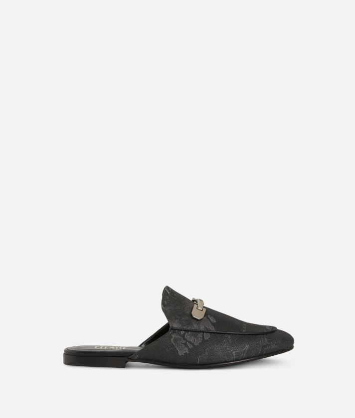 Geo Night print loafers Black