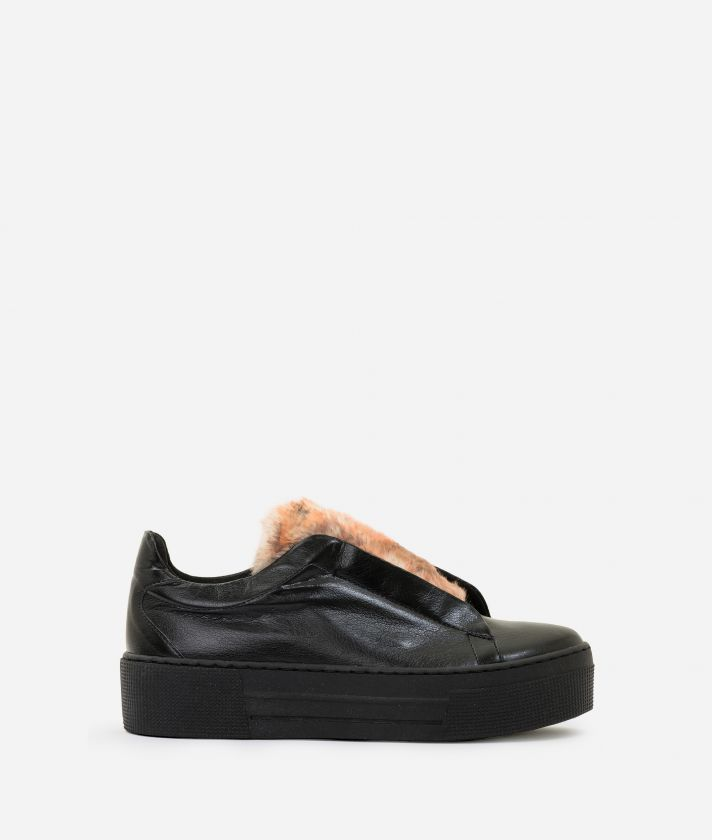 Eco-leather slip-on with eco-fur Black