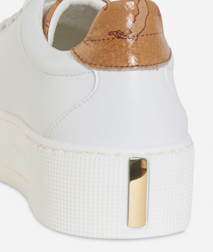 Eco-leather platform sneakers White