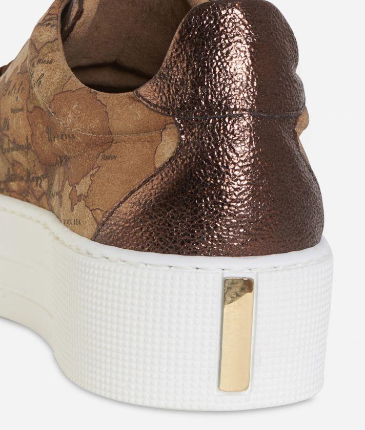 Sneakers in Geo nabuk con platform Bronzo
