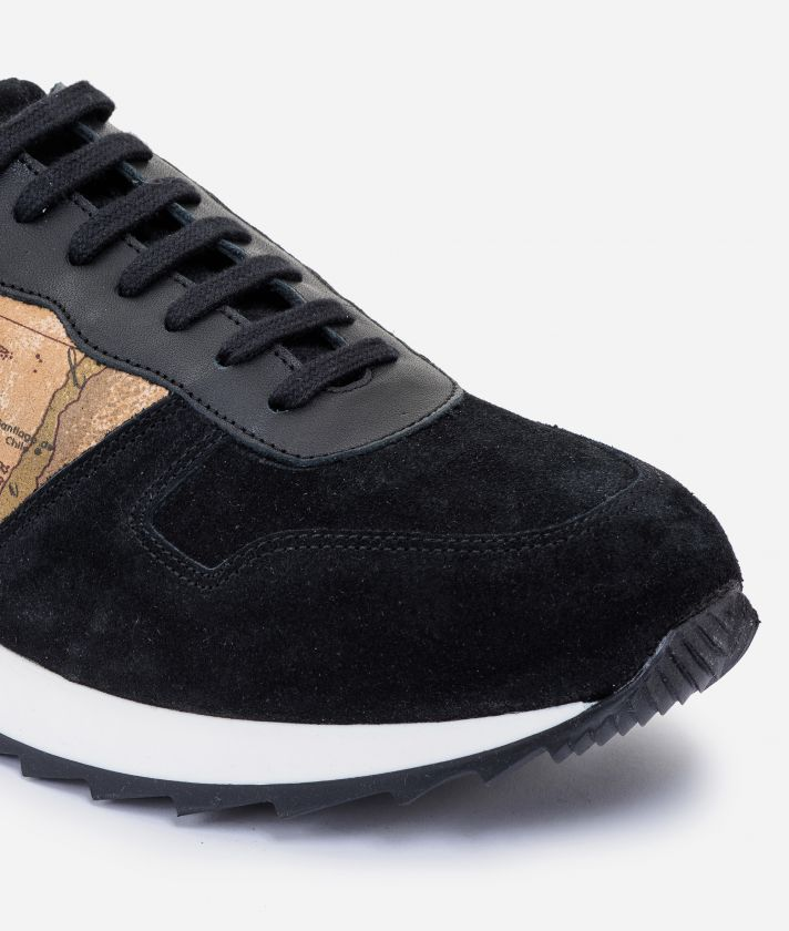 Suede leather running sneakers Black
