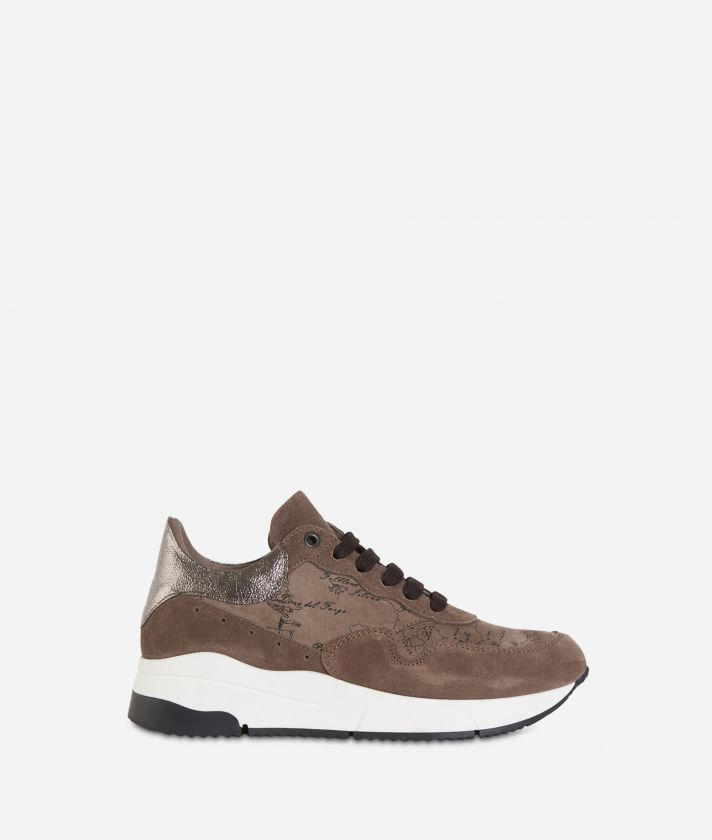 Geo Nabuk fabric running sneakers Mud