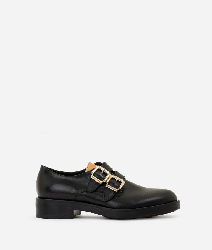 Derby in pelle con fibbie Nero