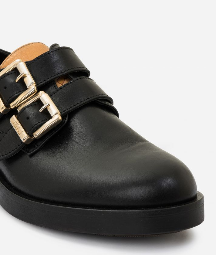 Leather derby with buckles Black