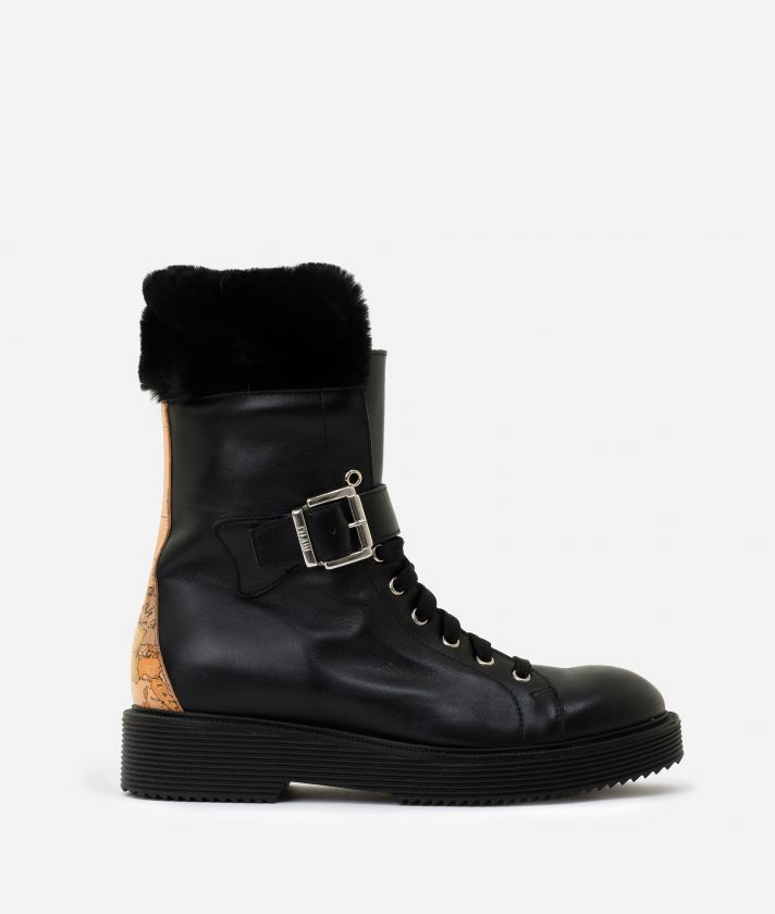 Leather combat boots with eco-fur Black