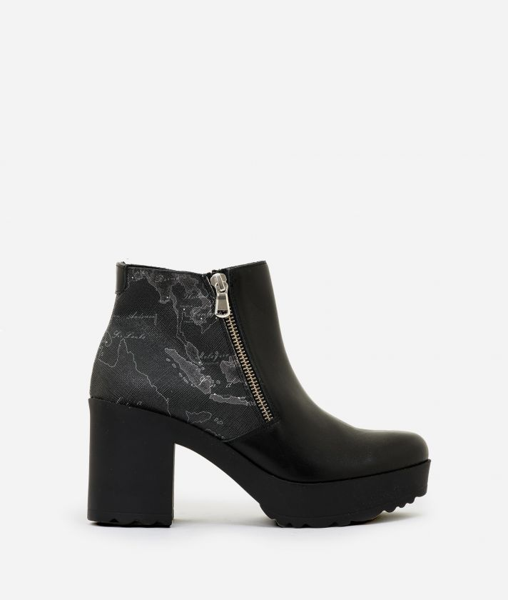 Leather and Geo Night ankle boots Black