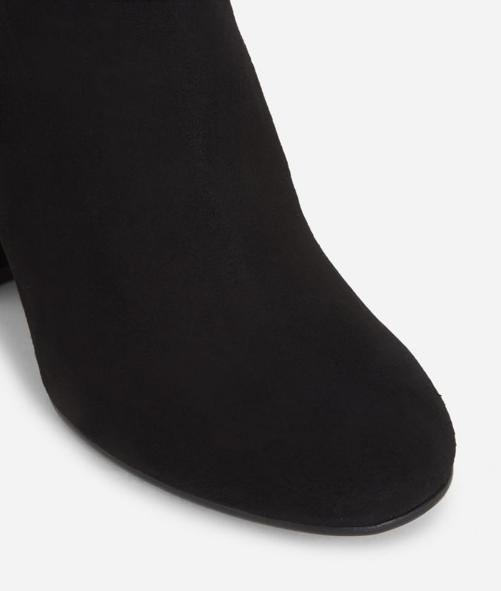 Suede leather ankle boots Black