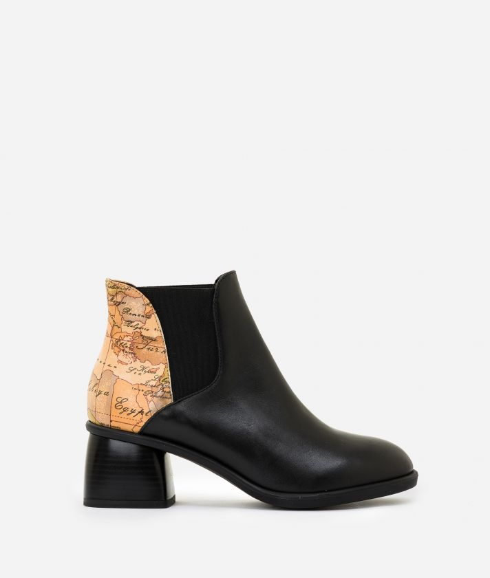 Leather ankle boots with sculpted heel Black