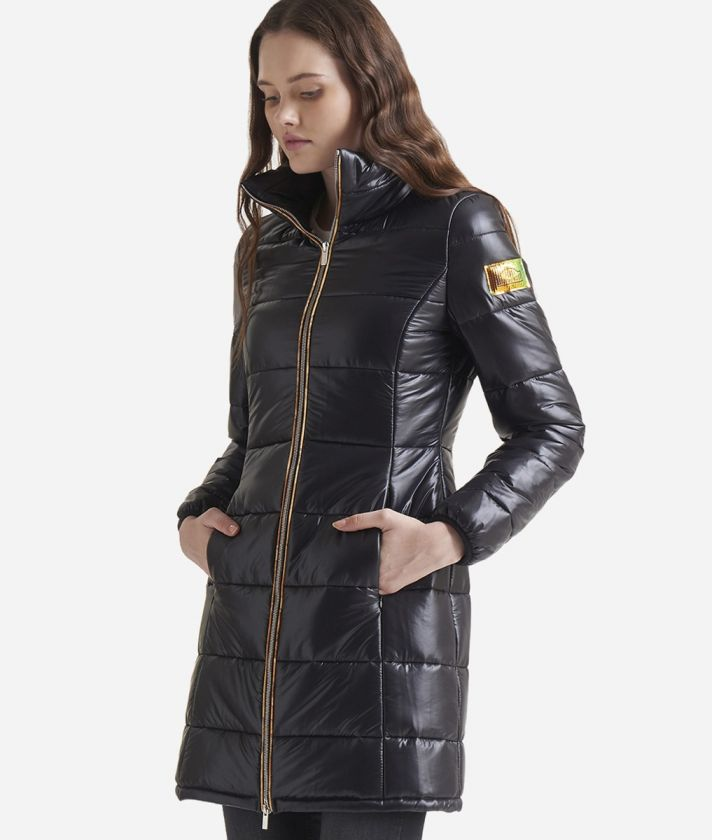 Nylon padded long coat Black