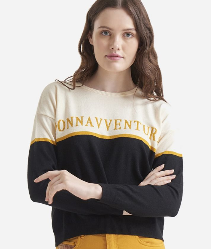 Crewneck sweater with Donnavventura logo White