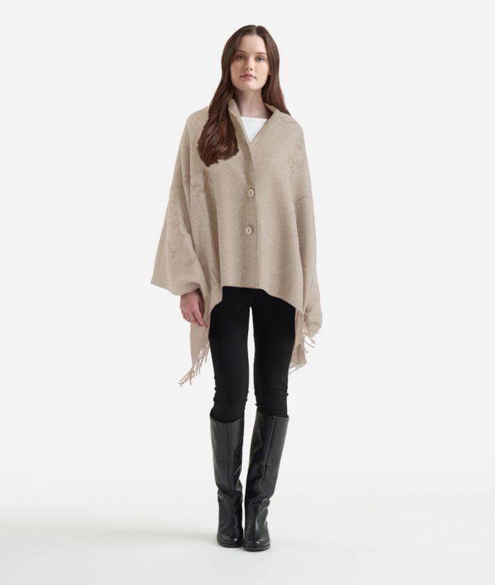 Geo Pieno print maxi scarf 75 x 180 Toupe