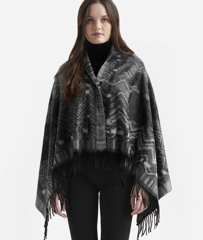Geo Spiga print maxi scarf80 x 160 Black