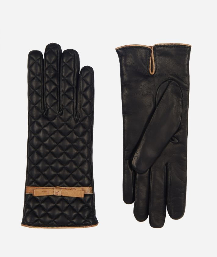 Nappa Woman Gloves with quilted texture Black