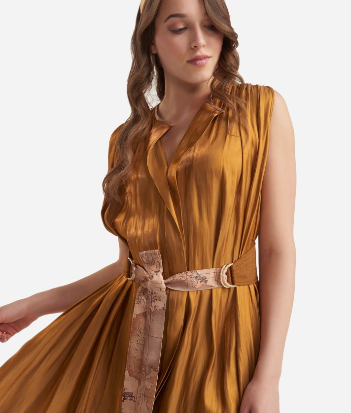 Long dress with belt in smooth iridescent fabric Bronze
