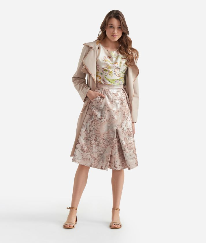 Asymmetric dress in Geo Safari print jacquard fabric