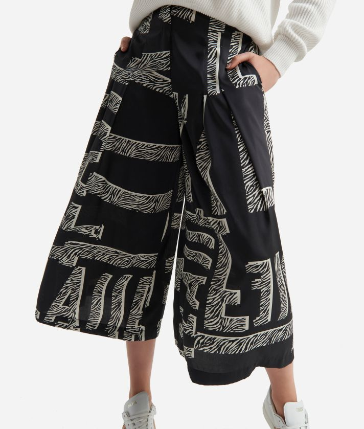 Gonna pantalone in twill stampa Maxi Lettering Nero e Bianco