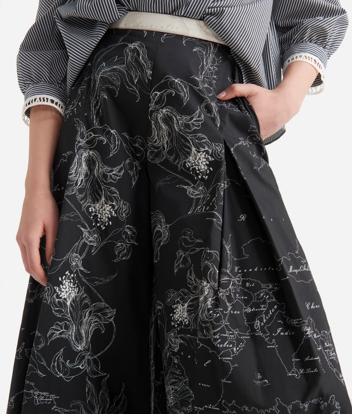 Wide pants in popeline cotton with floral print Black and White