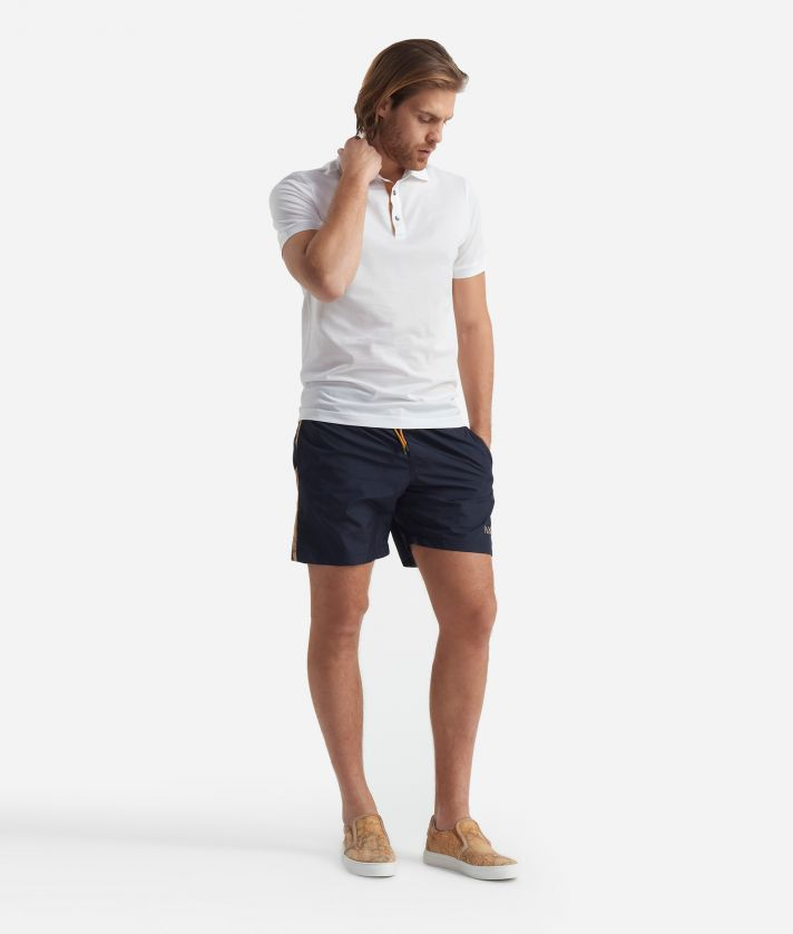 Swim trunks with Geo Classic details Blue