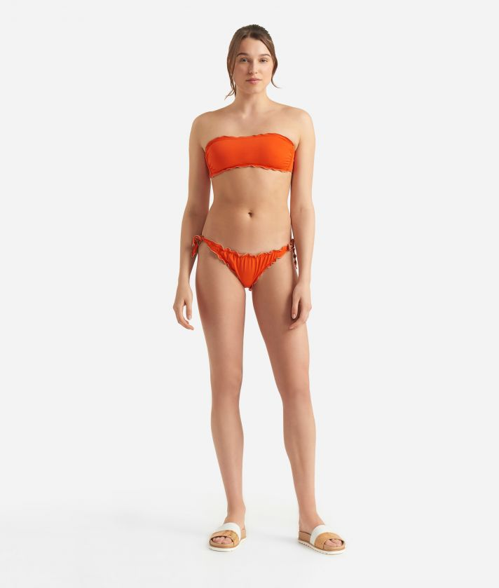 Donnavventura bandeau bikiniwith Geo Classic detail Orange