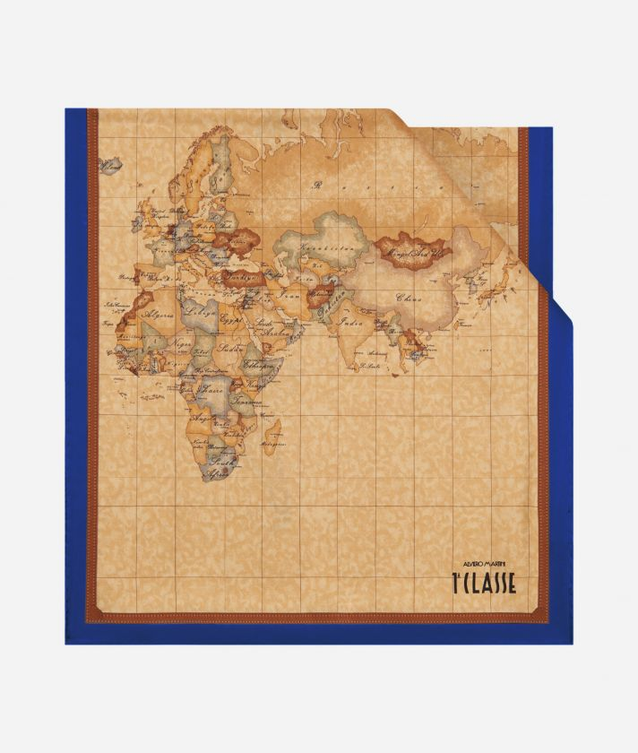 Geo Classic print stole 45 x 180 Blue