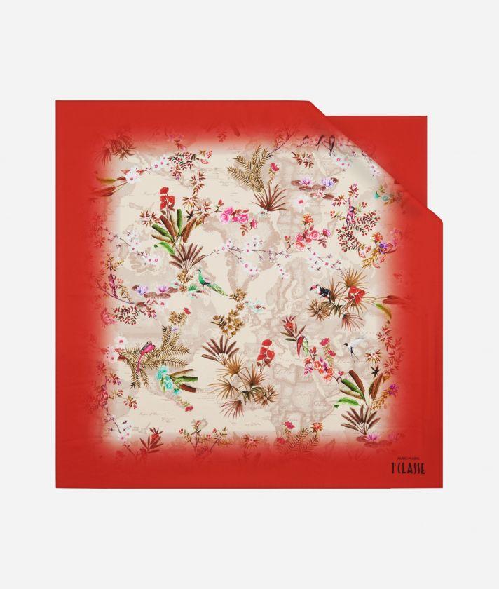 Oasis print foulard 70 x 70 Red