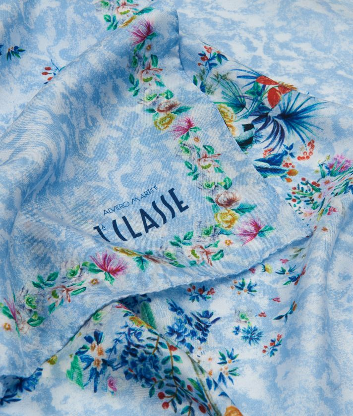 Oasis print foulard 90 x 90 Blue