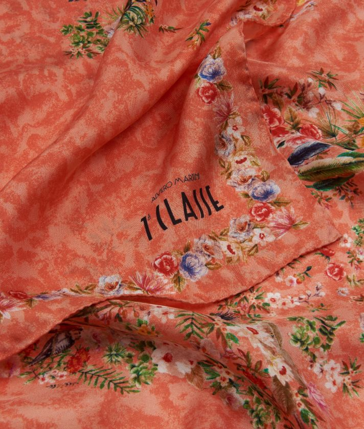 Oasis print foulard 90 x 90 Red