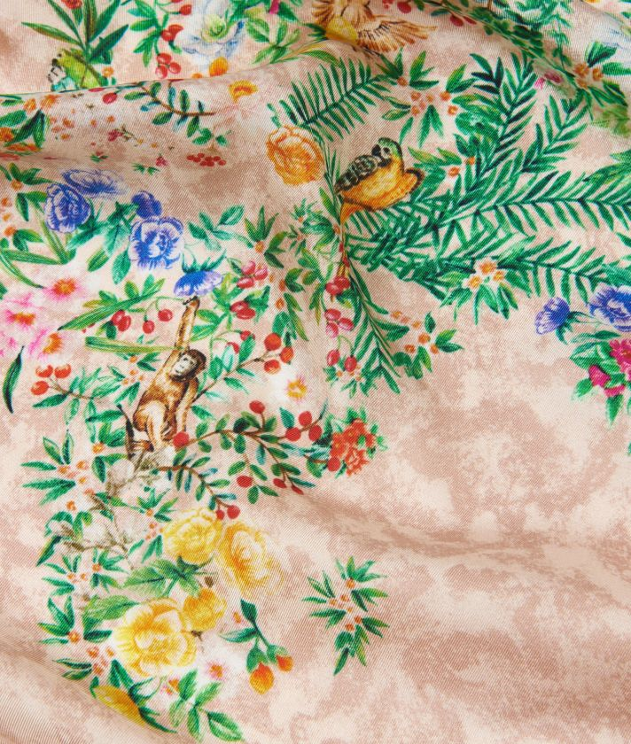 Oasis print foulard 90 x 90 Pink