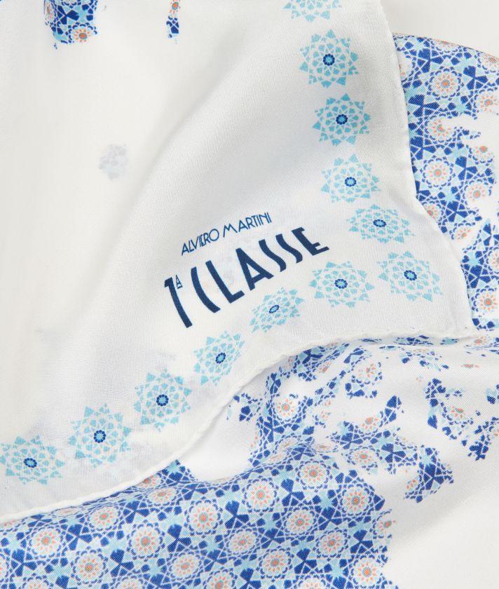 Mosaic print foulard 70 x 70 Blue
